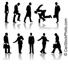 silhouette, vettore, uomini affari, dieci