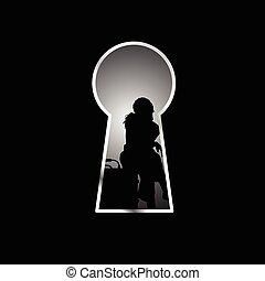 silhouette, viaggiare, illustrazione, borsa, buco serratura, fronte, ragazza