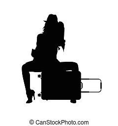 silhouette, viaggiare, illustrazione, borsa, ragazza nera