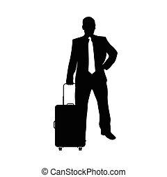 silhouette, viaggiare, illustrazione, borsa, uomo nero