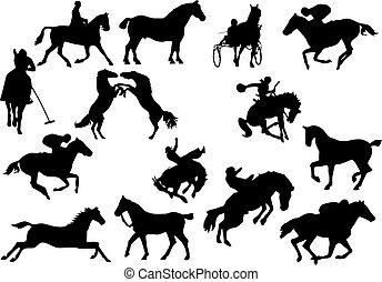 silhouettes., cavallo, vettore, illustrazione