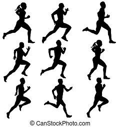 silhouettes., correndo, vettore, set, illustration.