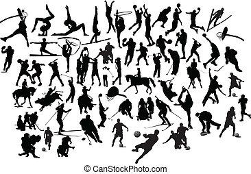 silhouettes., illustrazione, vettore, nero, collezione, bianco, sport