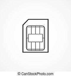 sim, scheda, simbolo