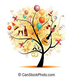 simboli, albero, felice, celebrazione, vacanza, divertente