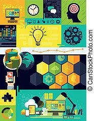 simboli, appartamento, infographic, disegno