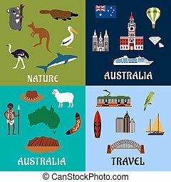 simboli, appartamento, viaggiare, australia, icone