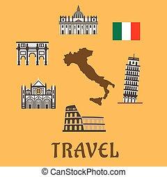 simboli, appartamento, viaggiare, italia, icone