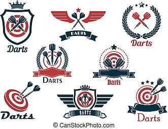 simboli, araldico, freccette, emblemi, sport