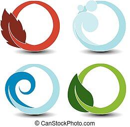 simboli, -, aria, onda, fuoco, vettore, elementi terra, naturale, fiamma, natura, acqua, circolare, bolla, acqua, foglia