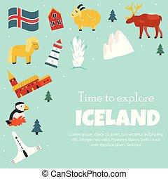 simboli, attrazioni, set, turista, islanda