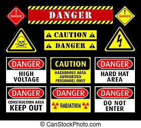 simboli, avvertimento, pericolo