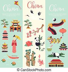 simboli, bandiere, set, cinese, limiti