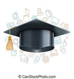 simboli, berretto, educazione, graduazione