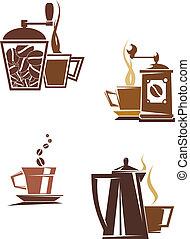 simboli, caffè tè, icone