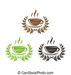 simboli, caffè tè, set