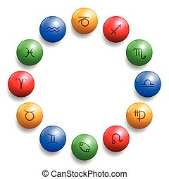 simboli, cerchio, radix, palla, astrologia