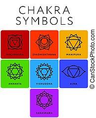 simboli, chakra, sette, set, nomi