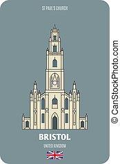 simboli, chiesa, st, architettonico, paul, città, bristol, europeo, uk.