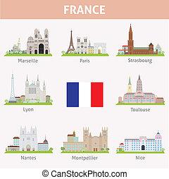 simboli, città, france.