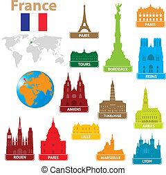 simboli, città, francia