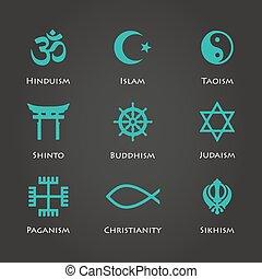 simboli, colorare, cyan, mondo, religione