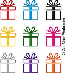 simboli, colorito, regalo, vettore, scatola