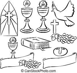 simboli, comunione, vettore, -, santo