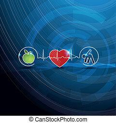 simboli, concetto, cardiologia, sano, luminoso, vivente