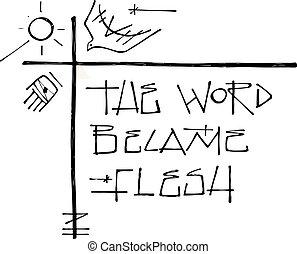 simboli, cristiano, religioso, frase
