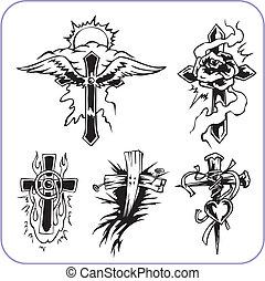 simboli, cristiano, vettore, -, illustration.