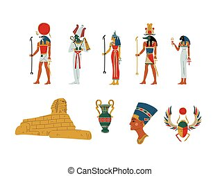 simboli, dea, antico, set, egitto, dii, illustrazione, vettore