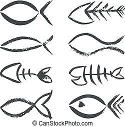 simboli, disegnato, fish, mano