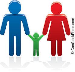 simboli, donna, uomo, vettore, bambino
