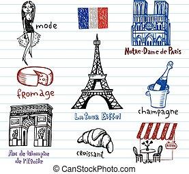 simboli, doodles, impaurito, francia