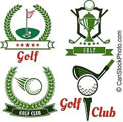 simboli, emblemi, icone, golf, gioco