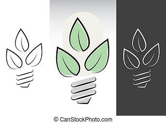 simboli, energia, verde, lightbulbs