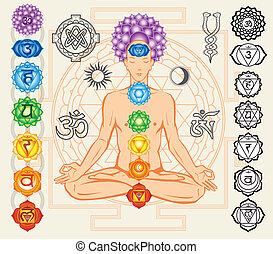 simboli, esoterico, silhouette, chakras, uomo