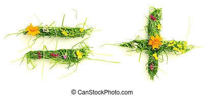 simboli, fiori, fatto, erba