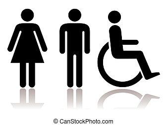 simboli, gabinetto, invalido