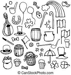 simboli, icone, patrick's, giorno