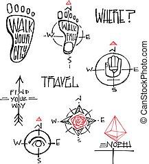 simboli, illustrazioni, viaggiare, vettore