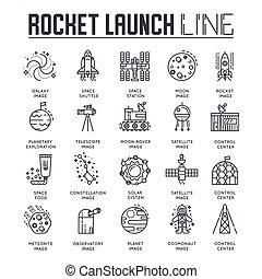 simboli, linea, concetto, lineare, razzo, pictogram, industria, set., moderno, icone, appartamento, magro, collezione, sagoma, illustrazioni, icone, pack., simbolo, logotipo, contorno