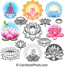 simboli, lotuses, set, esoterico