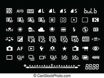 simboli, macchina fotografica, regolazioni