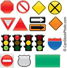 simboli, mappa, traffico firma