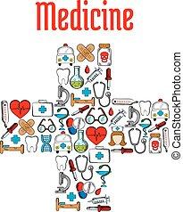 simboli, medicina, medico, attraversi forma