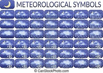 simboli, meteorologico, set