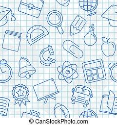 simboli, modello, scuola, seamless