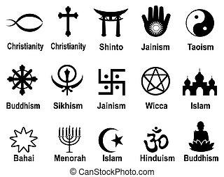 simboli, nero, set, icone religiose